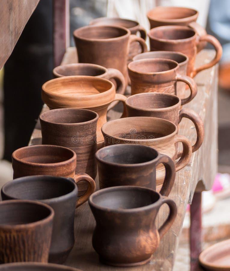 Wystawa i sprzedaż ceramiczny handmade obraz royalty free