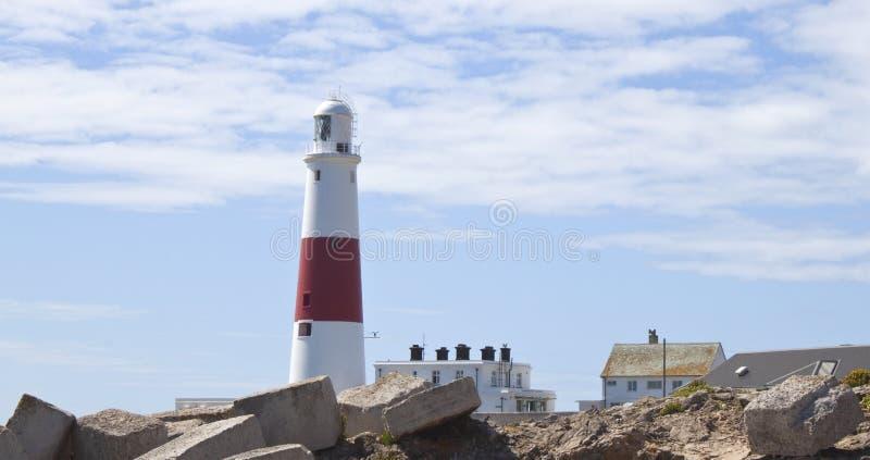 Wystawia Rachunek Dorset Latarnię Morską England Portland Fotografia Stock
