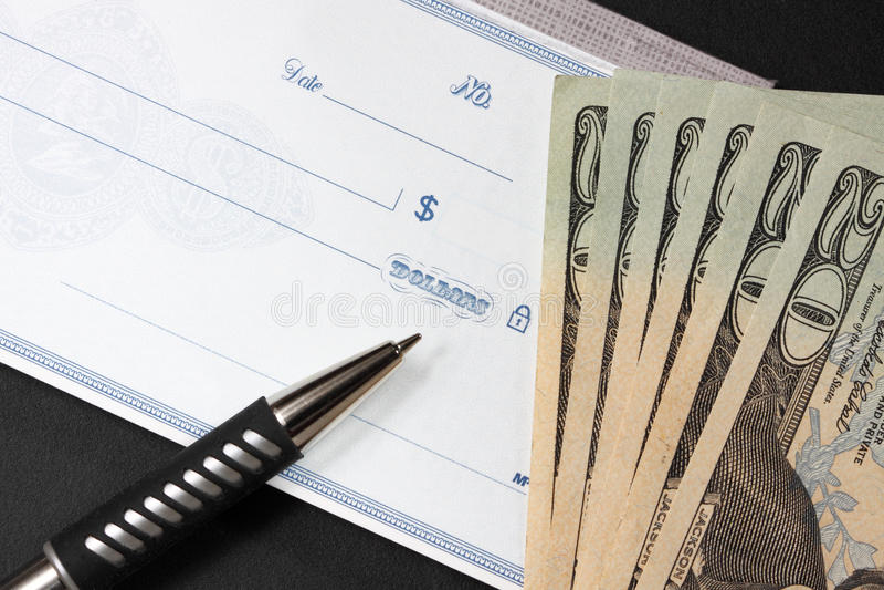 wystawia rachunek pustego czek dolara swój boczni dwadzieścia zdjęcia stock