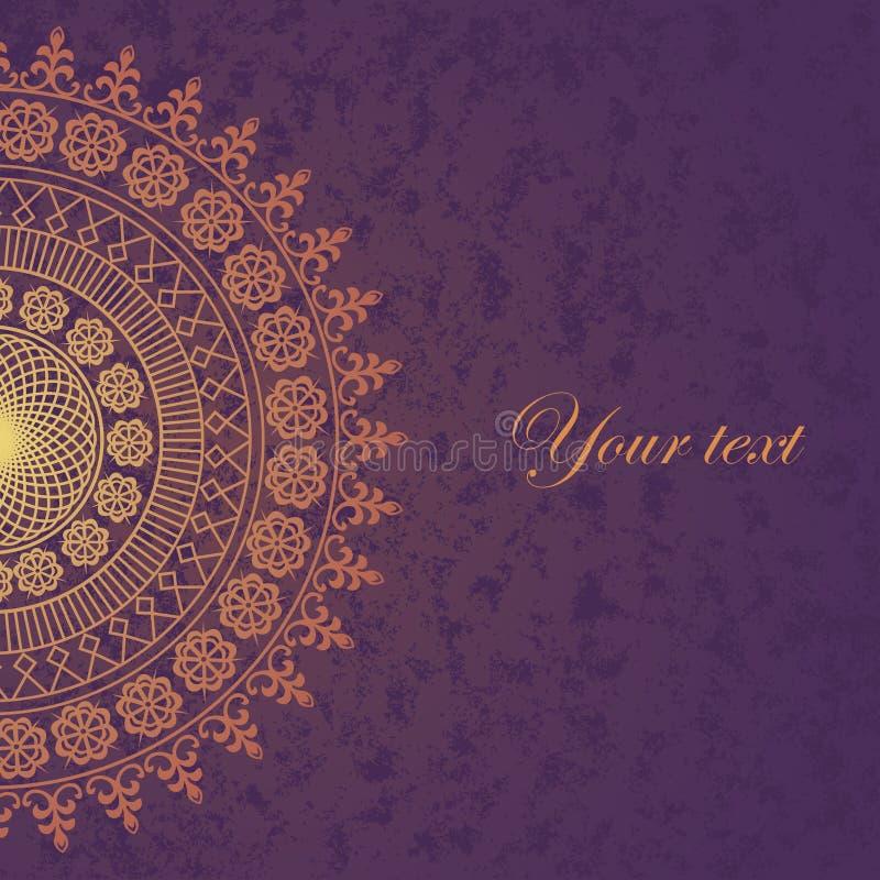 Wystrój koronka na purpurowym tle. Stara okrąg koronka royalty ilustracja