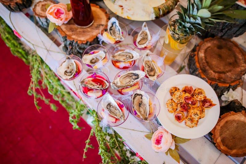 Wystrój stół owoce morza fotografia stock