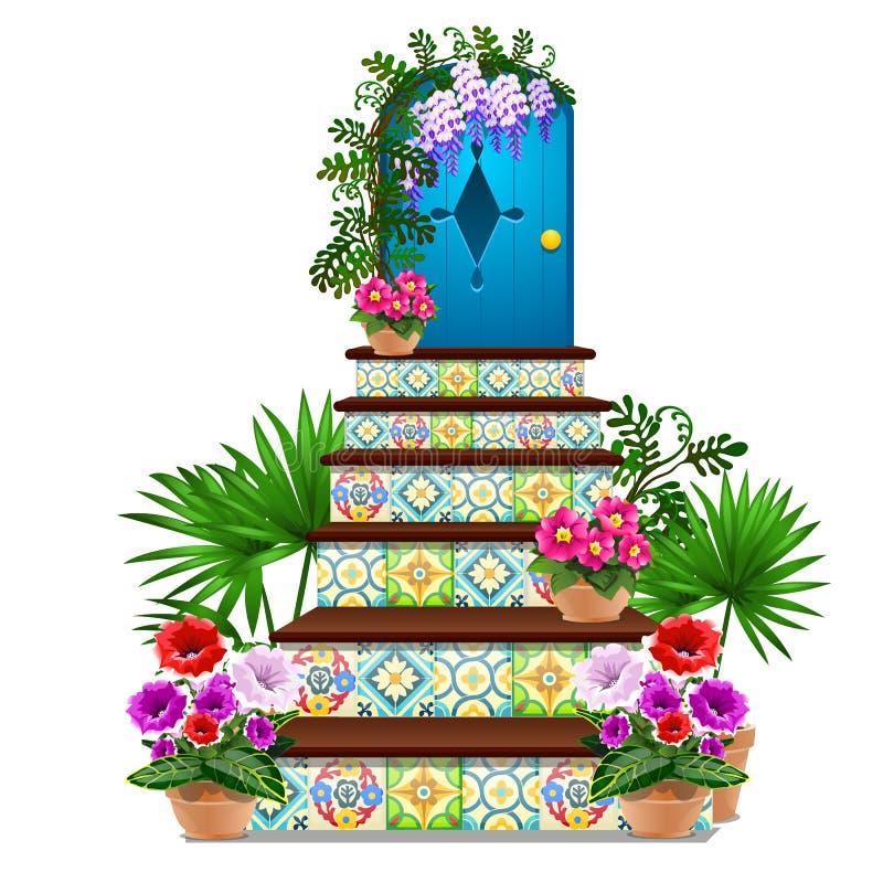 Wystrój w postaci błękitnego drewnianego drzwi i kroków taflujących z barwiącymi ornamentami, świezi kwiaty w garnkach odizolowyw ilustracji