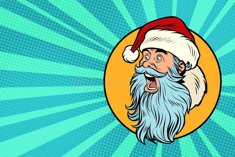 Wystrzał sztuka Święty Mikołaj stawia czoło profil ilustracja wektor