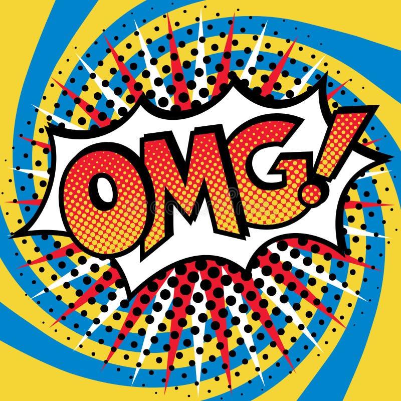 Wystrzał sztuka OMG! Teksta projekt ilustracja wektor