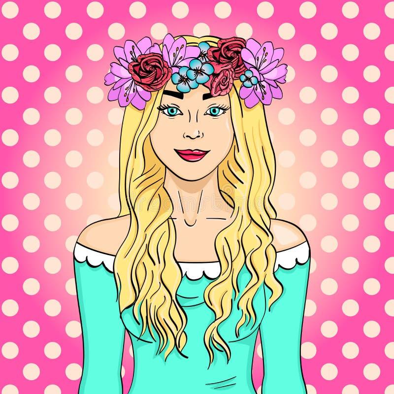 Wystrzał sztuka piękna i młoda dziewczyna, blondynka Wianek na głowie z bukietem kwiaty Komiks stylowa imitacja ilustracja wektor
