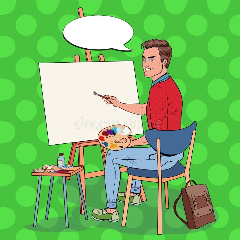 Wystrzał sztuki artysty Męski obraz przy studiiem Mężczyzna malarz w warsztacie ilustracji