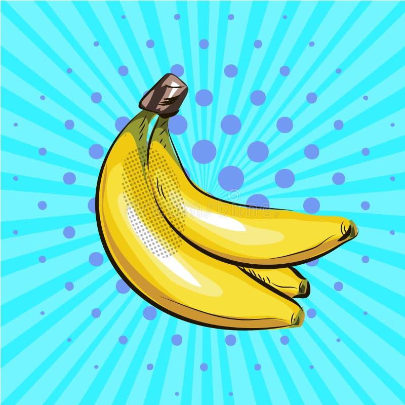 Wystrzał sztuki banan Wektorowy ilustracyjny halftone royalty ilustracja