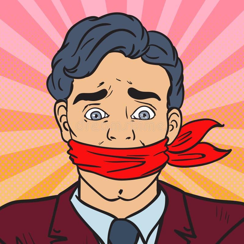 Wystrzał sztuki Bezmowny Ściszający biznesmen Biznesowa cenzura ilustracji
