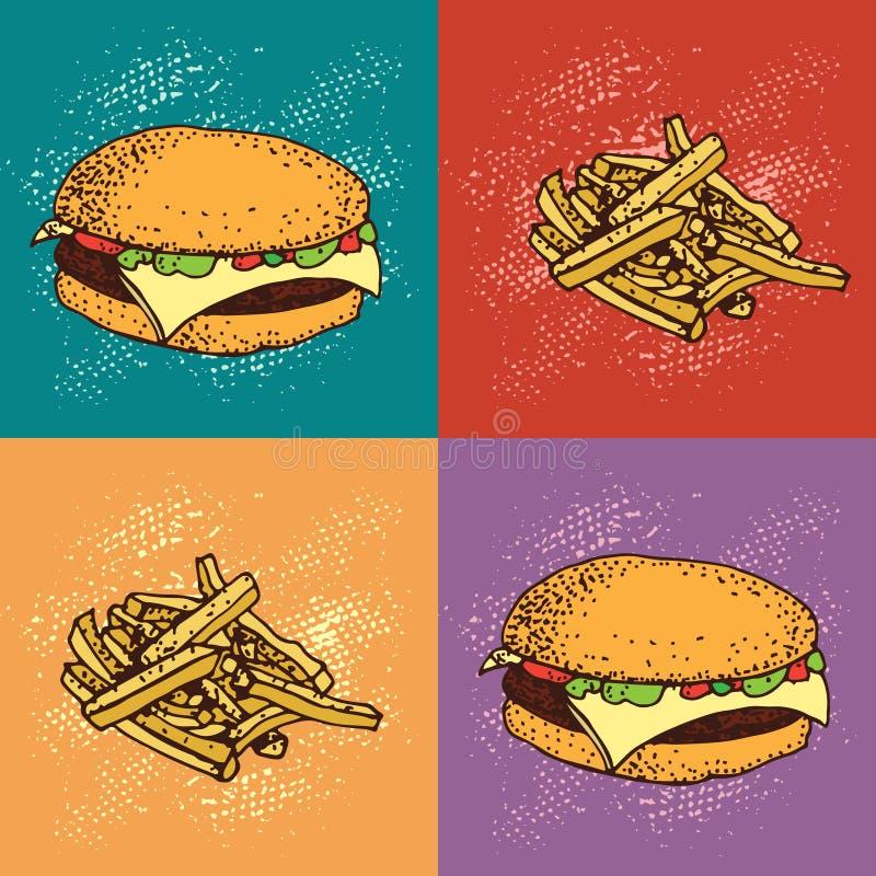 Wystrzał sztuki bezszwowy wzór hamburgeru i francuza dłoniaki Fast food royalty ilustracja