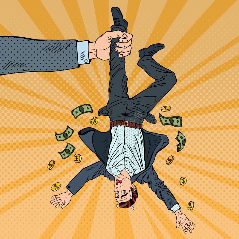 Wystrzał sztuki biznesmena gubienie jego Ostatni pieniądze interes upadłościowej pojęcia komputera pokaz wartości ilustracji fina ilustracja wektor