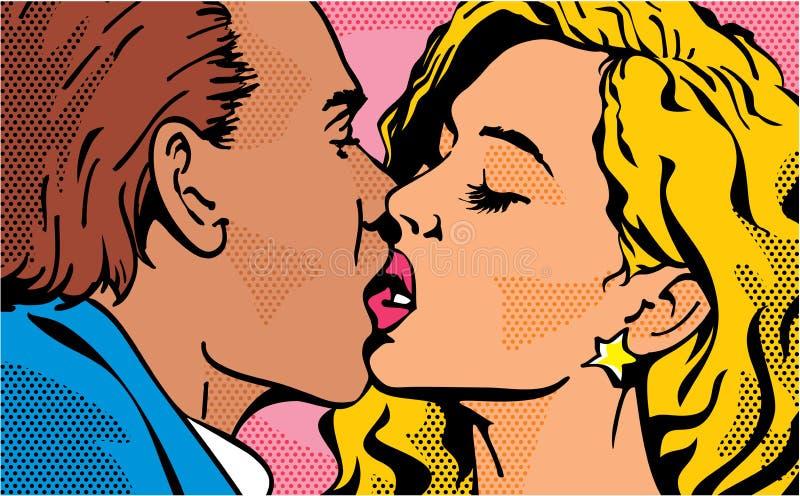 Wystrzał sztuki buziak całowanie pary Mężczyzna i kobieta wszystkie cmyk koloru dzień wszystkie elementów kartoteki ilustracyjny  ilustracja wektor