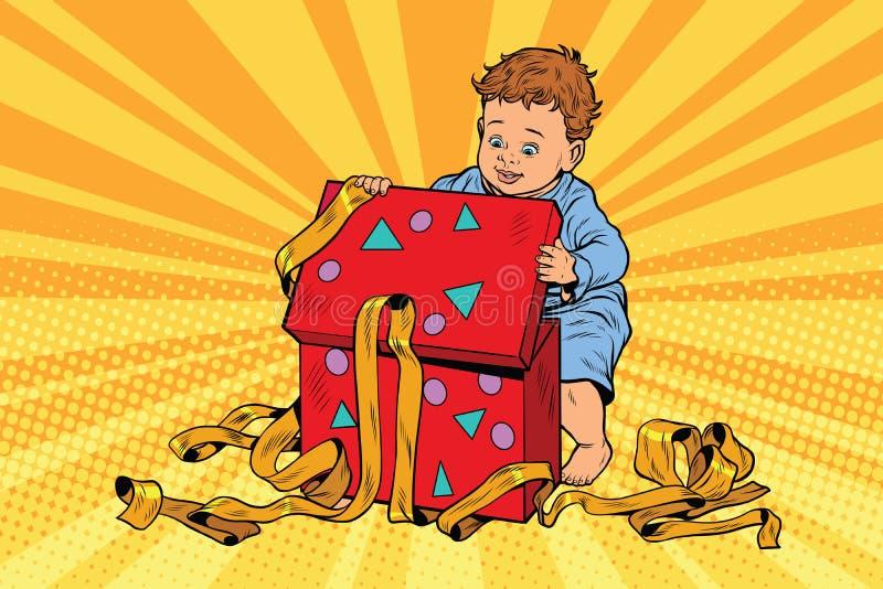 Wystrzał sztuki chłopiec otwiera prezenta pudełko royalty ilustracja