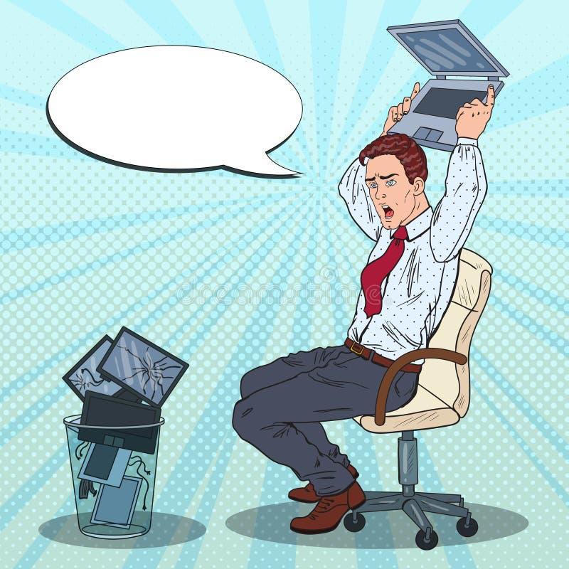 Wystrzał sztuki Dokuczający biznesmen Rzuca Out laptop Stres przy Biurową pracą ilustracji