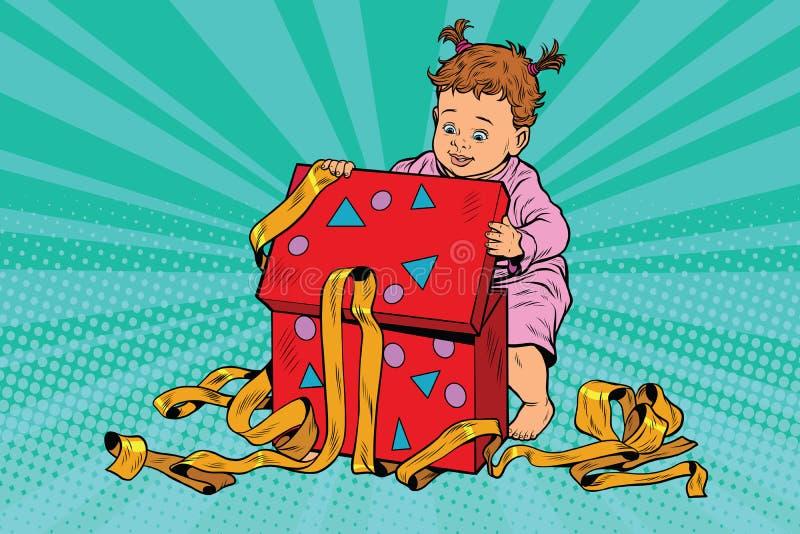 Wystrzał sztuki dziewczyna otwiera prezenta pudełko royalty ilustracja