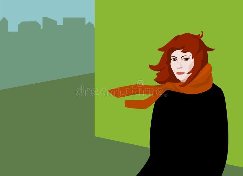 Wystrzał sztuki dziewczyna w miastowym krajobrazie royalty ilustracja