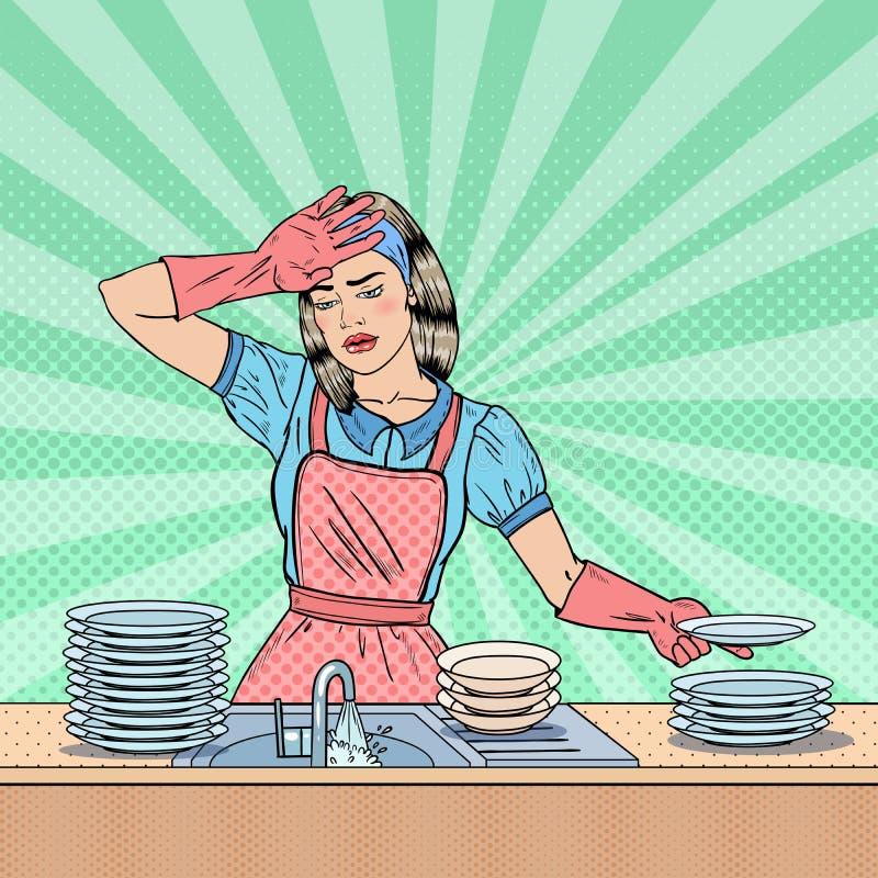 Wystrzał sztuki gospodyni domowej domycia Zmęczeni naczynia przy kuchnią royalty ilustracja