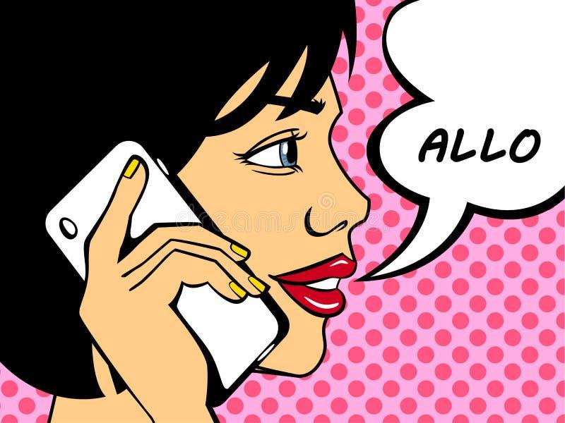 Wystrzał sztuki kobieta mówi cześć na telefonie ilustracja wektor