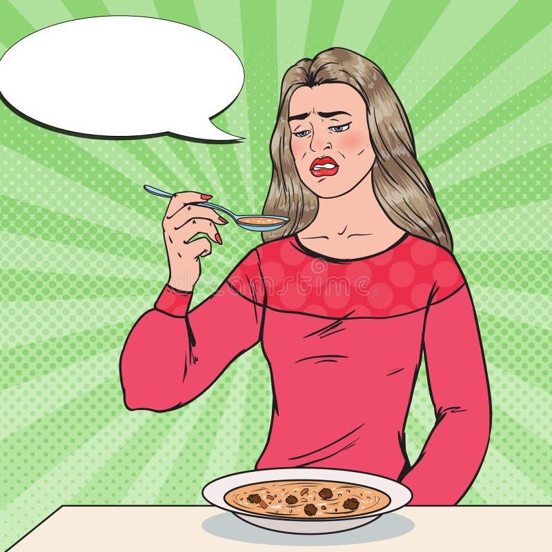 Wystrzał sztuki kobiety łasowania polewka z Wstrętną twarzą Niegustowny jedzenie royalty ilustracja
