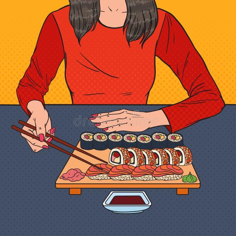 Wystrzał sztuki kobiety łasowania suszi przy Azjatycką restauracją Japoński jedzenie ilustracja wektor