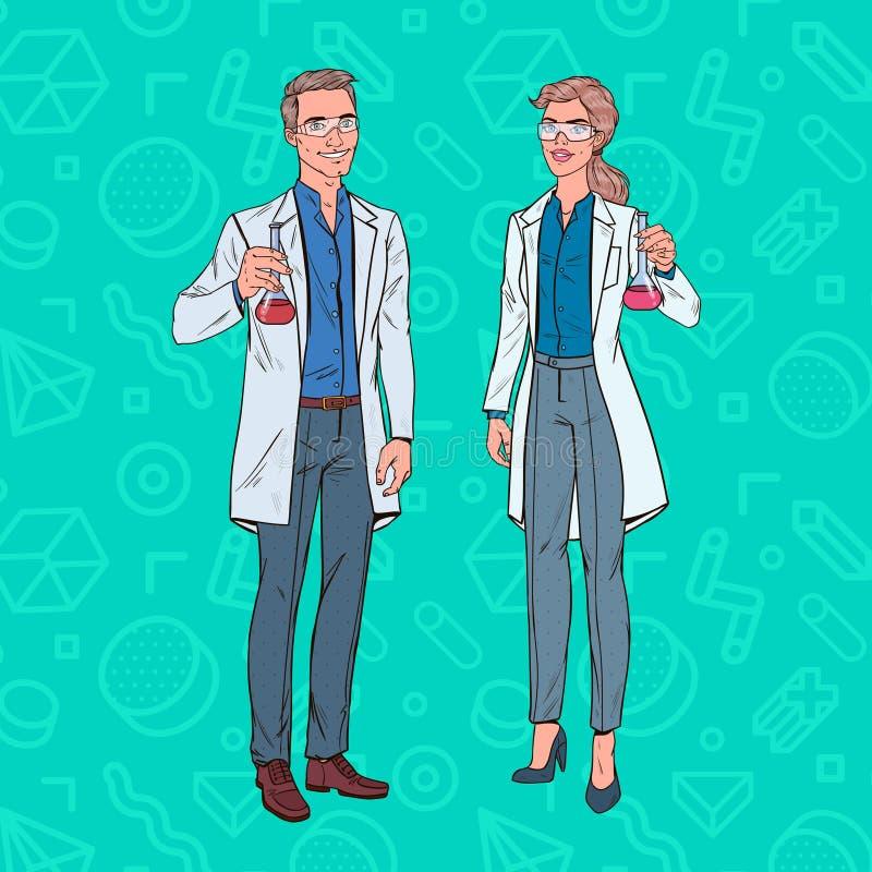 Wystrzał sztuki kobiety i mężczyzna naukowowie z kolbą Laboranccy badacze Chemii farmakologii pojęcie royalty ilustracja