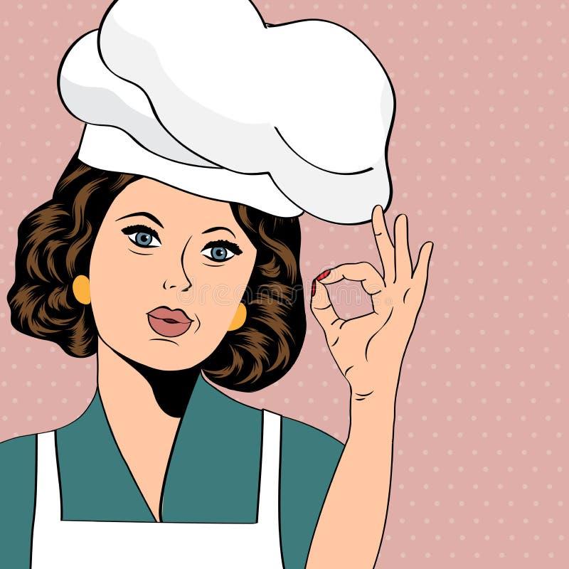 Wystrzał sztuki kobiety kucharz ilustracji