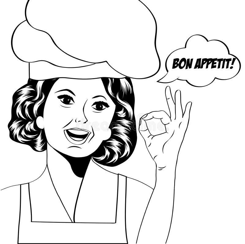 Wystrzał sztuki kobiety kucharz royalty ilustracja