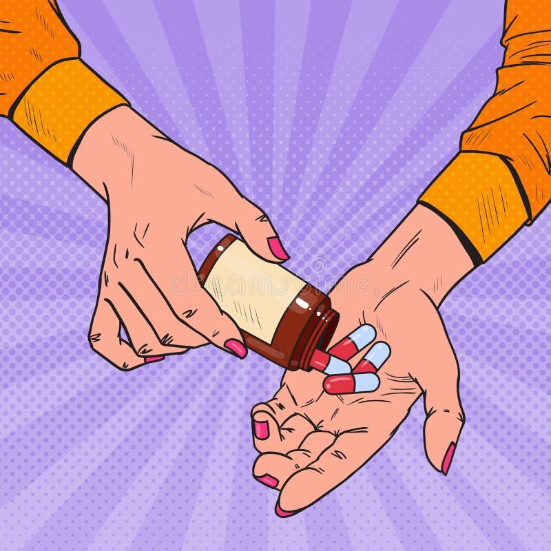 Wystrzał sztuki kobiety mienia butelka z Medycznymi lekami Kobiet ręki z pigułkami Farmaceutyczny nadprogram royalty ilustracja