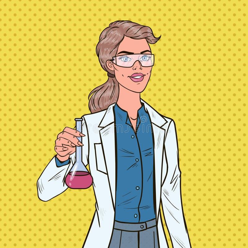 Wystrzał sztuki kobiety naukowiec z kolbą Żeński Laborancki badacz Chemii farmakologii pojęcie royalty ilustracja