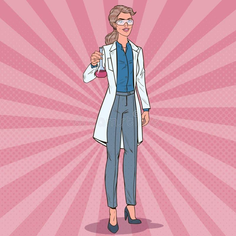 Wystrzał sztuki kobiety naukowiec z kolbą Żeński Laborancki badacz Chemii farmakologii pojęcie ilustracja wektor