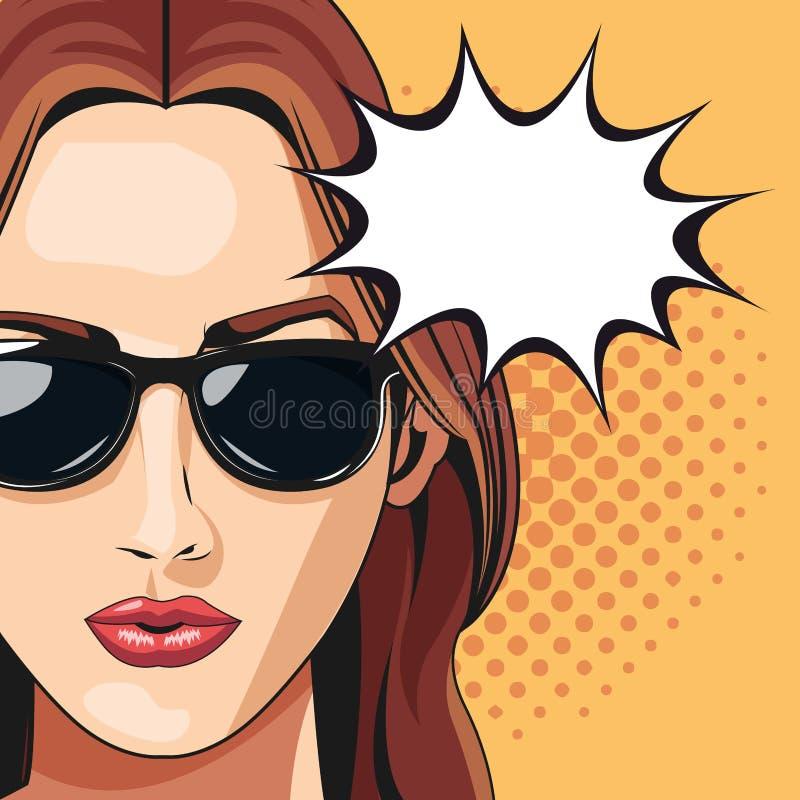Wystrzał sztuki kobiety okulary przeciwsłoneczni gulgoczą mowa kropkującego tło ilustracji