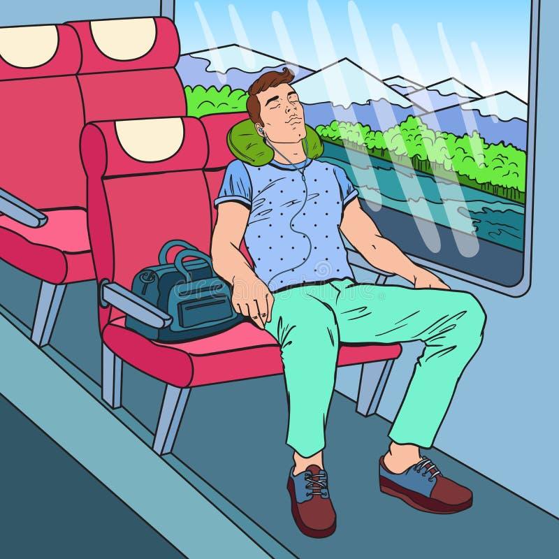 Wystrzał sztuki mężczyzna Męczący dosypianie w Słuchającej muzyce i pociągu Turystyka, lato podróż ilustracja wektor