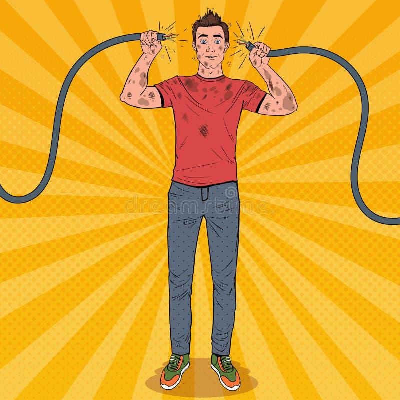 Wystrzał sztuki mężczyzna mienie Łamający Elektryczny kabel royalty ilustracja