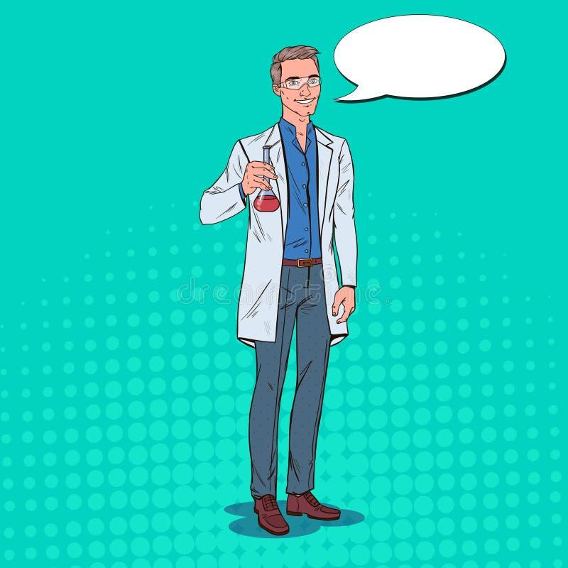 Wystrzał sztuki mężczyzna naukowiec z kolbą Męski Laborancki badacz Chemii farmakologii pojęcie ilustracja wektor
