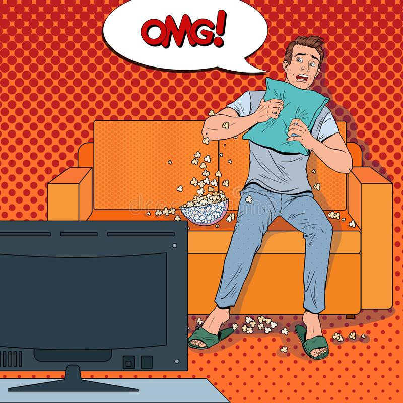 Wystrzał sztuki mężczyzna Ogląda horror w domu Szokujący faceta zegarka film na leżance z popkornem ilustracji