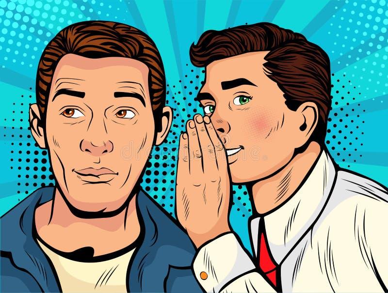 Wystrzał sztuki mężczyzna szepcze plotki lub sekretu jego przyjaciel ilustracji