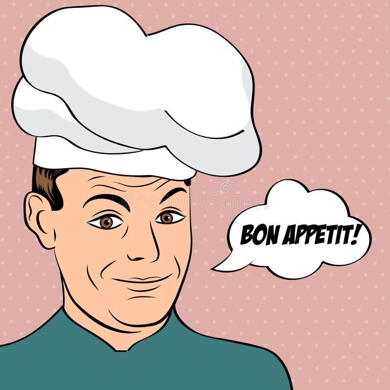 Wystrzał sztuki mężczyzna w kuchenka mundurze ilustracji