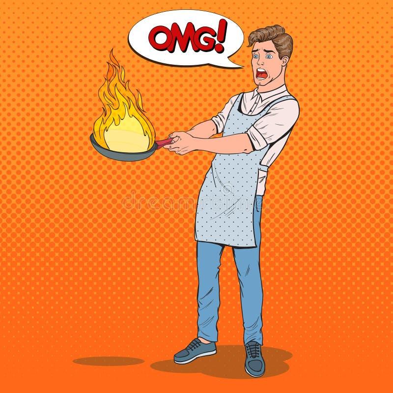 Wystrzał sztuki mężczyzna w Kuchennej mienie niecce Przestraszony Młody facet w fartucha kucharstwie z Płonącą niecką ilustracji
