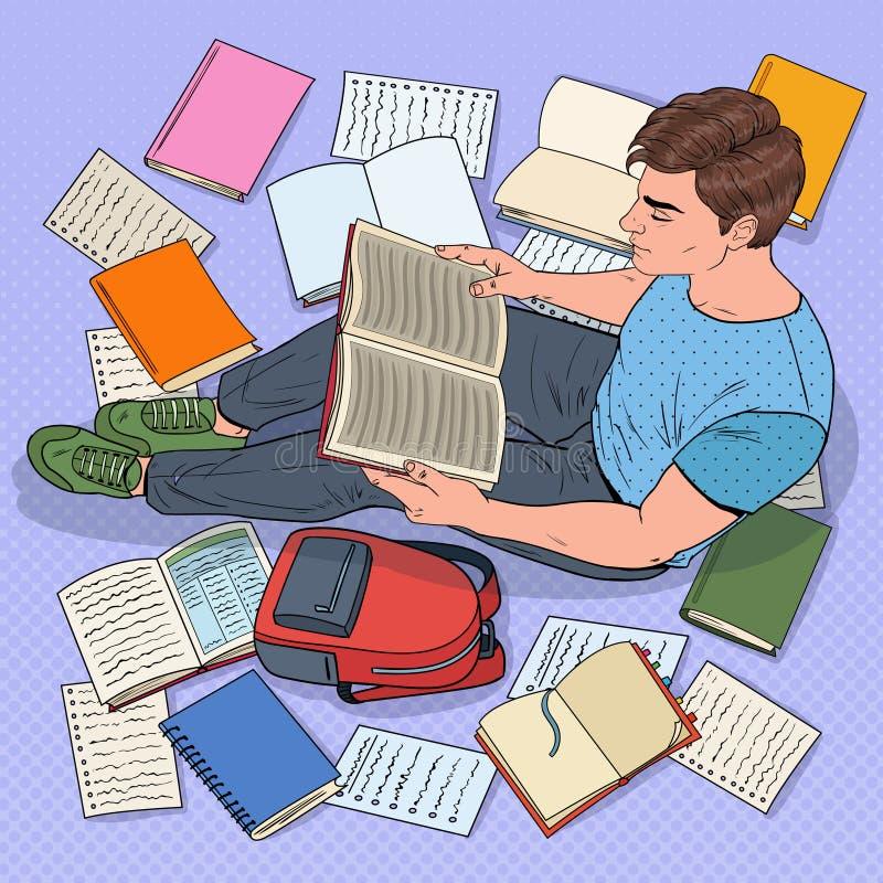 Wystrzał sztuki Męskiego ucznia Czytelnicze książki Siedzi na podłoga Nastolatka narządzanie dla egzaminów Edukacja, nauka i lite royalty ilustracja