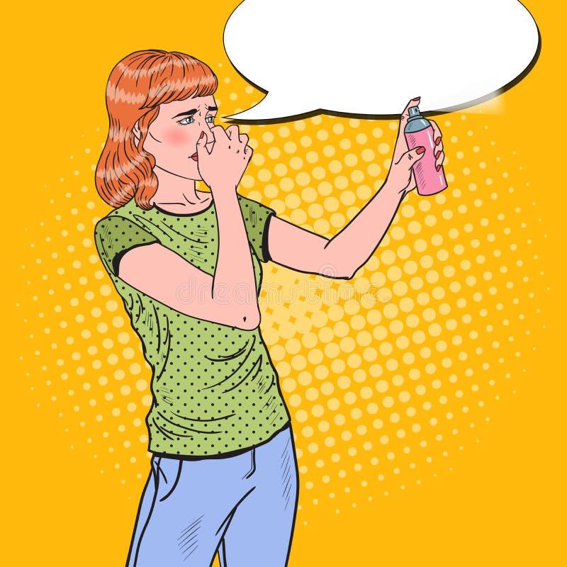 Wystrzał sztuki młodej kobiety opryskiwania puszka Lotniczy Freshener ilustracji