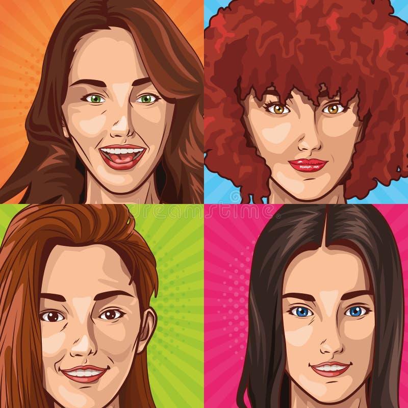 Wystrzał sztuki młodych kobiet twarze uśmiecha się kreskówki royalty ilustracja
