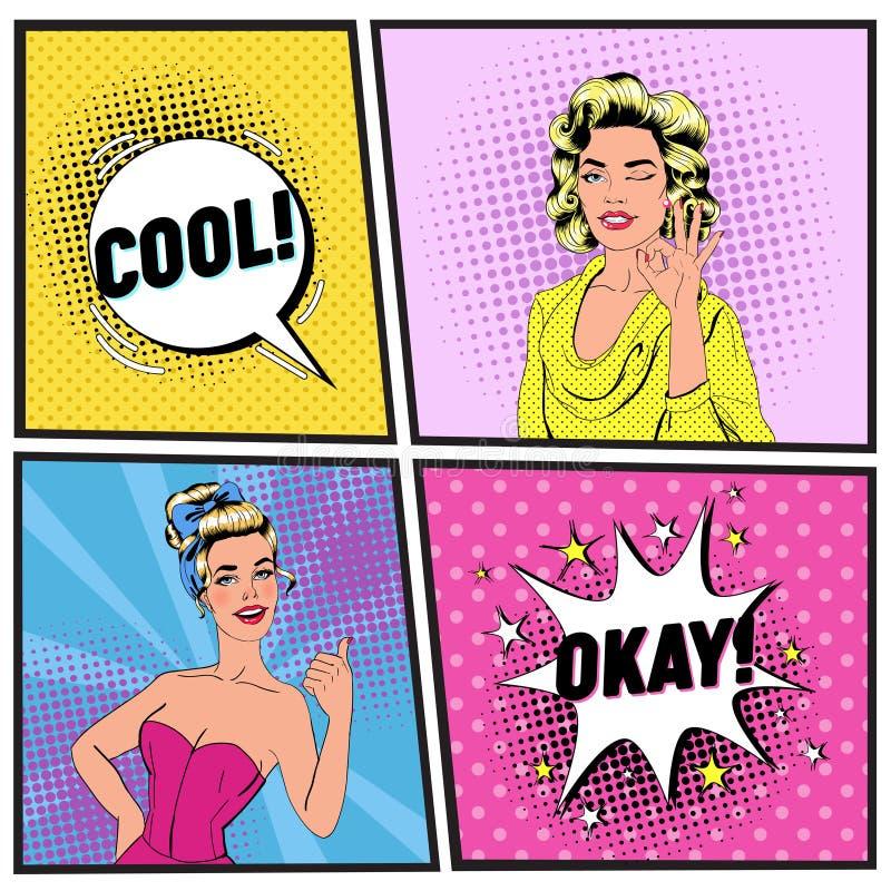 Wystrzał sztuki Piękna kobieta Mruga Szyldowego OK i Pokazuje Radosna dziewczyna Pokazuje kciuk Up Rocznik mowy Plakatowy Komiczn royalty ilustracja