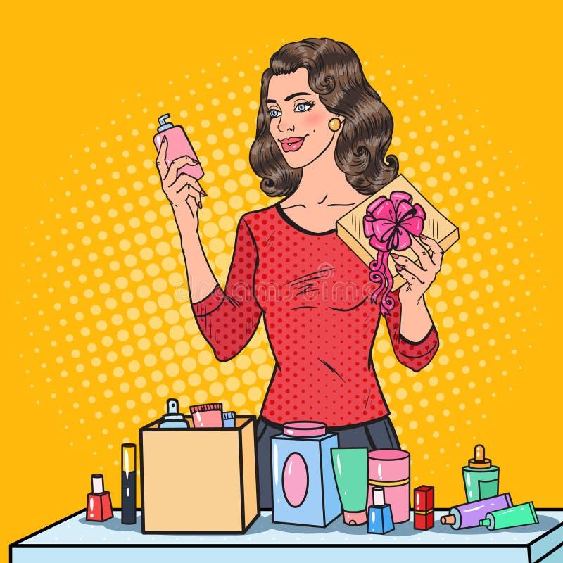 Wystrzał sztuki Piękna kobieta z Opakunkowymi kosmetykami w prezenta pudełku piękno ilustracja wektor