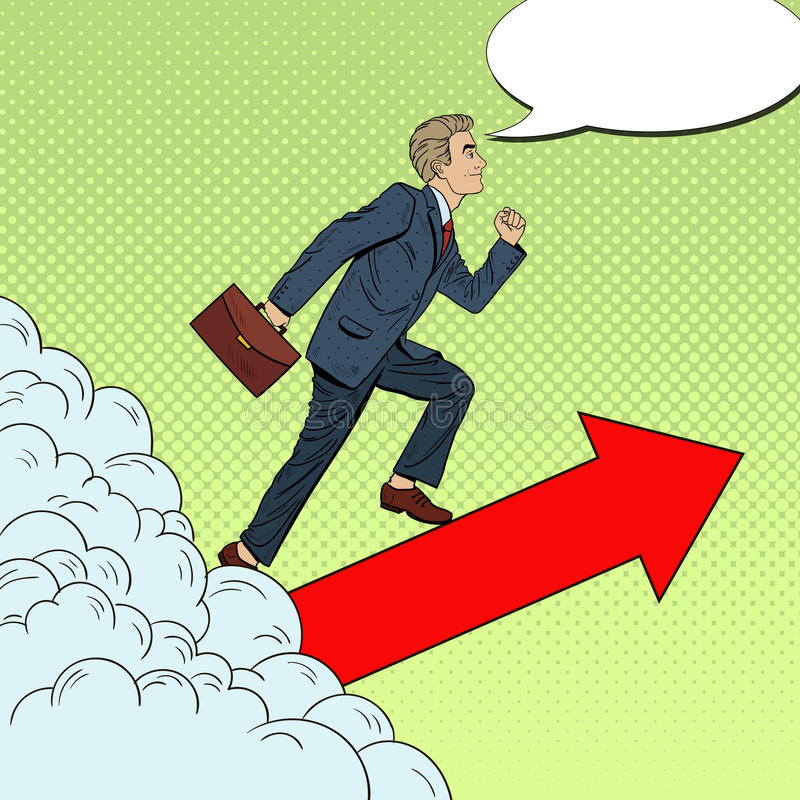 Wystrzał sztuki Pomyślny biznesmen Chodzi wierzchołek przez chmur ilustracji