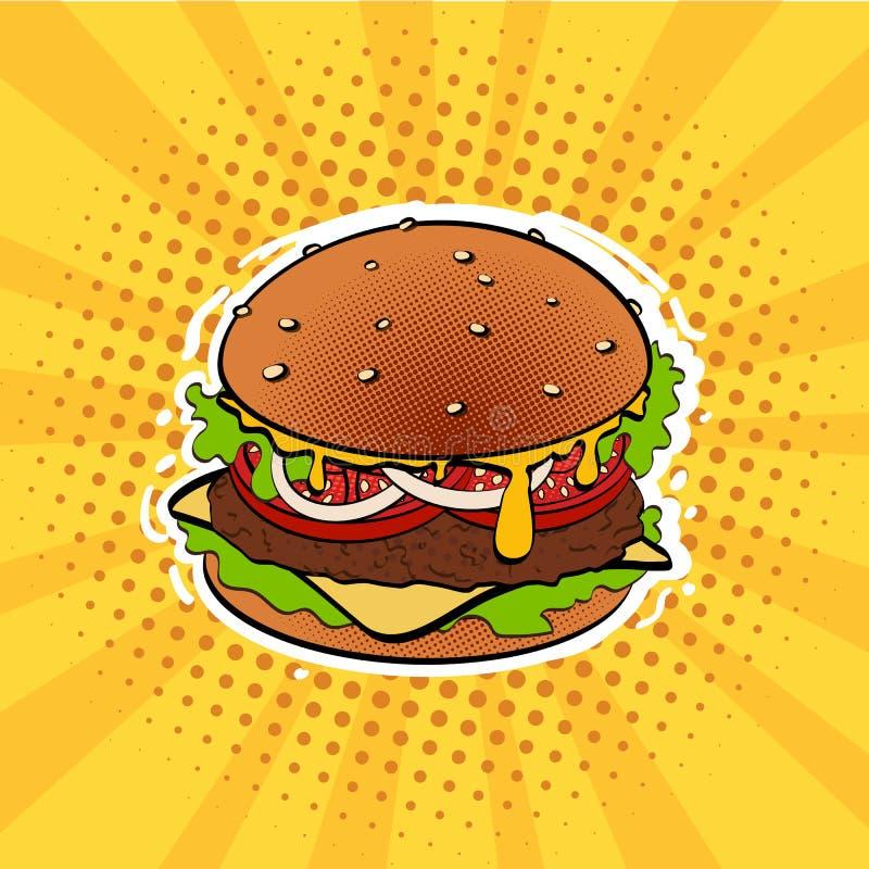 Wystrzał sztuki retro hamburger ilustracja wektor