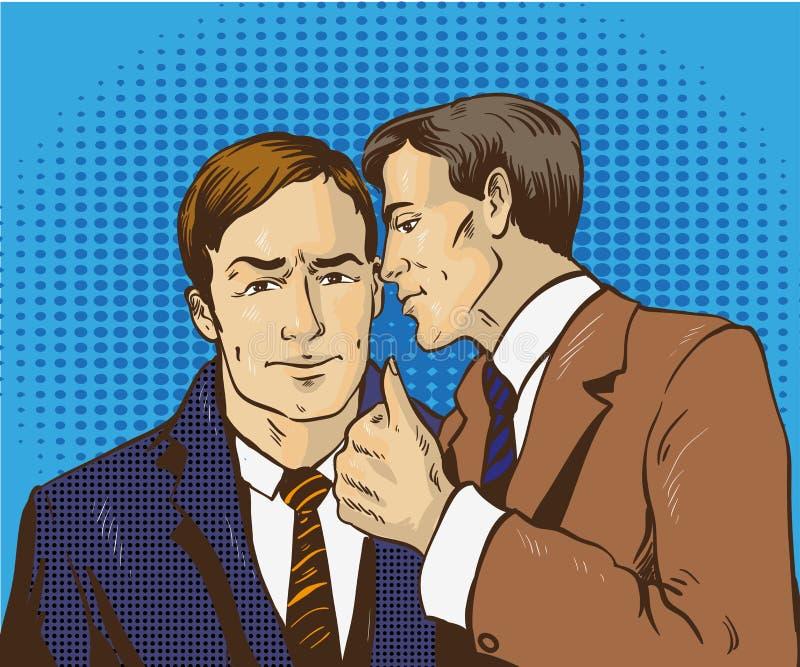 Wystrzał sztuki retro komiczna wektorowa ilustracja Dwa biznesmenów rozmowa each inny Mężczyzna mówi biznesowemu sekretowi jego p ilustracja wektor