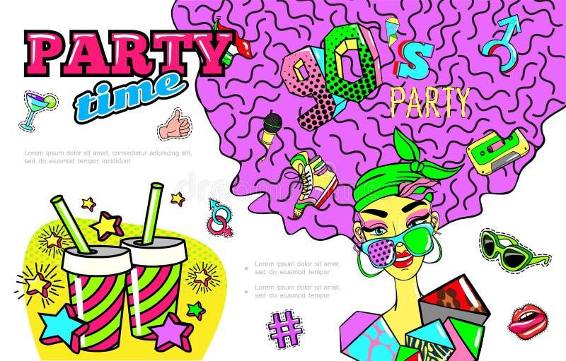Wystrzał sztuki 90s Partyjny Kolorowy pojęcie ilustracji