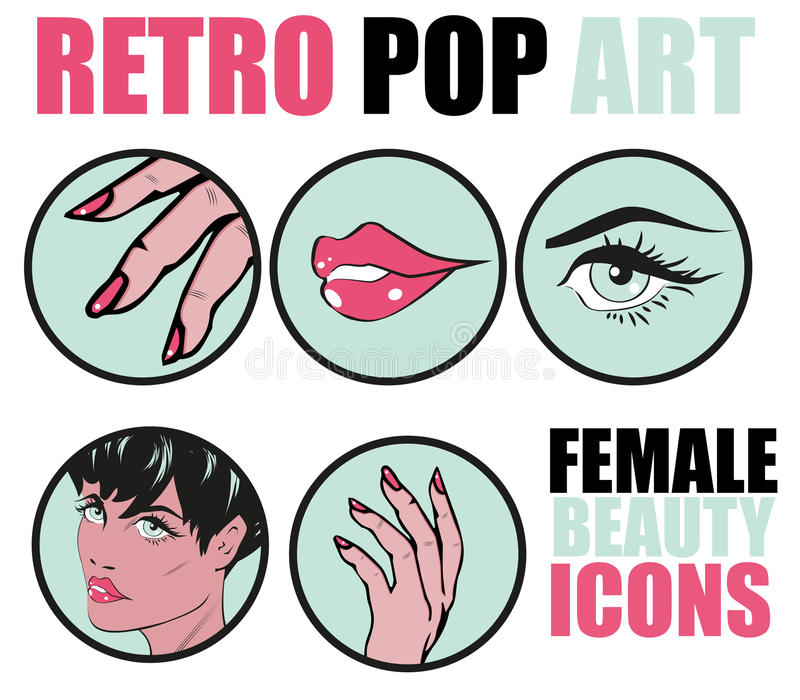 Wystrzał sztuki strony internetowej ikony Ustawiać - piękno kobiety ręki gwoździ Włosiana twarz L ilustracja wektor