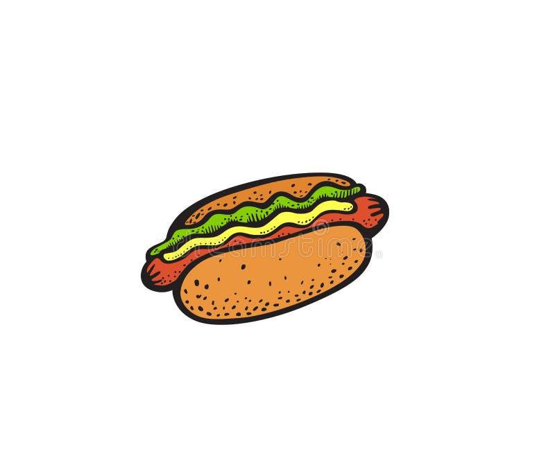 Wystrzał sztuki stylu hot dog majcher ilustracji