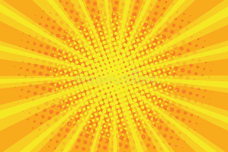 Wystrzał sztuki sunburst wzór, komiczny halftone tło Retro wybuchu tło Promieniowi promienie z kropkami, żółty sunbeam wektor royalty ilustracja
