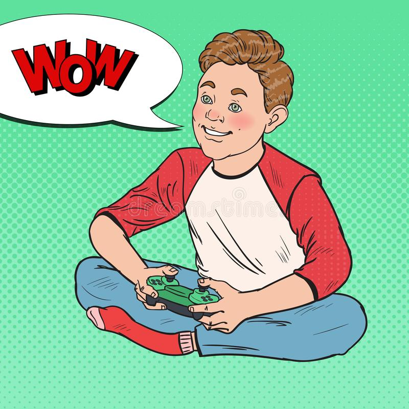 Wystrzał sztuki Szczęśliwa chłopiec Bawić się Wideo grę Dzieciak z Kontrolną konsolą royalty ilustracja